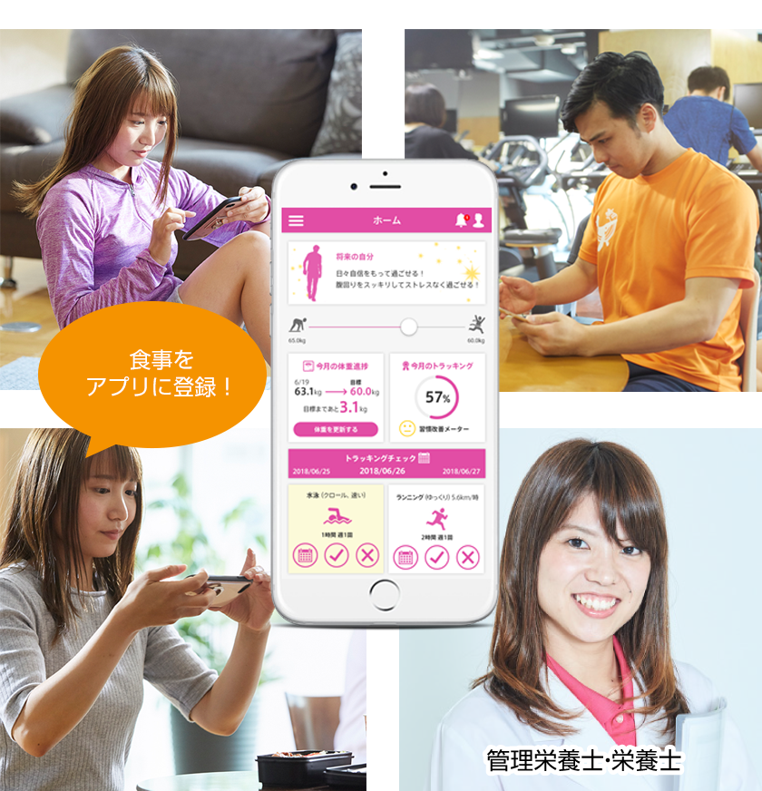 〈ON DIARY利用イメージ〉食事をアプリに登録